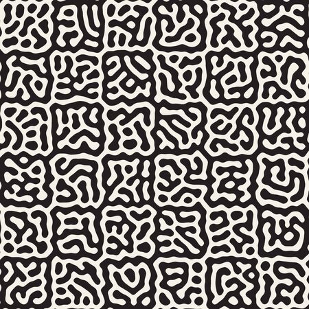 Vector seamless trendy pattern. Monochrome organic shapes texture. Abstract rounded messy lines stylish background. Reklamní fotografie - 133626816