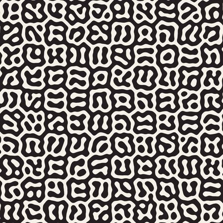Vector seamless trendy pattern. Monochrome organic shapes texture. Abstract rounded messy lines stylish background.
