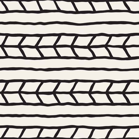 Simple ink geometric pattern. Monochrome black and white strokes background. Hand drawn ink brushed texture for your design 向量圖像