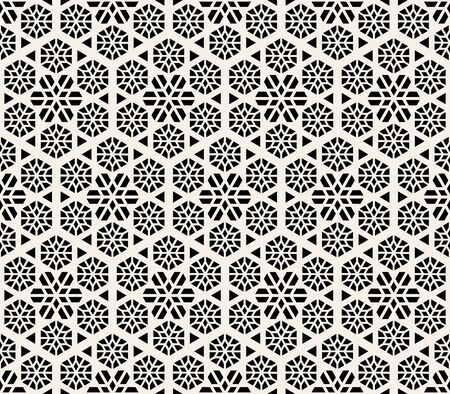 Vector seamless abstract pattern. Modern stylish striped lattice texture. Repeating geometric tiles with hexagonal line elements.