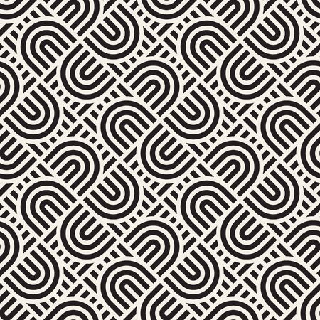 Vector seamless pattern. Concentric bold semi circles. Geometric striped ornament. Rounded diagonal lines stylish background.