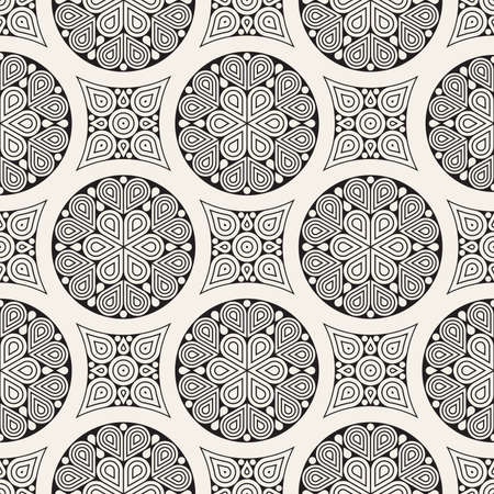 Vector seamless pattern. Modern stylish abstract texture. Repeating geometric circle and star tiles from decorative elements.