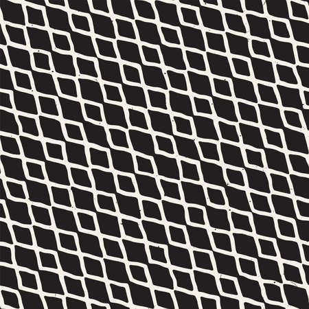 Hand-drawn lines geometric seamless pattern. Monochrome black and white ink strokes. Abstract vector background texture.