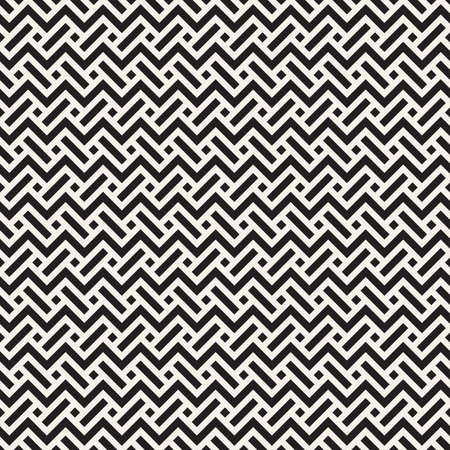 Vector seamless pattern. Modern stylish abstract texture. Repeating geometric tiles from striped elements Vetores