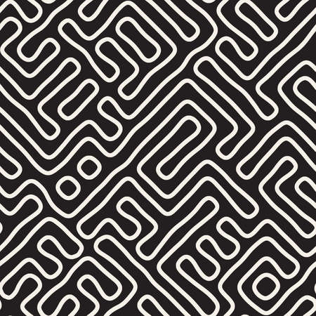 Vector seamless trendy pattern. Monochrome organic shapes texture. Abstract rounded messy lines background. 向量圖像