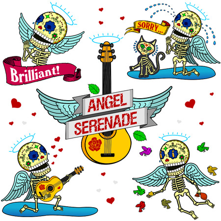 Angelic Serenade. Angel admired, asking for forgiveness, together with a cat, singing a serenade, flutters with the birds