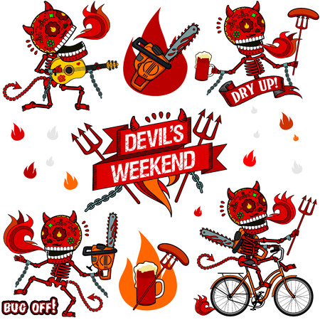 Devils weekend. Output, red devil sings with a guitar serenade, drinking beer at the bar, dancing drunken dance with a chainsaw, riding his bike. Vector
