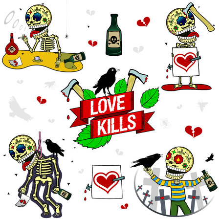 Love kills. Alcoholic, drowning his sorrows in wine, cupid arrow, piercing through the heart of the poor fellow, suicide, unhappy love the which I brought to the loop, a drunkard, a walk around the cemetery of his love Illustration