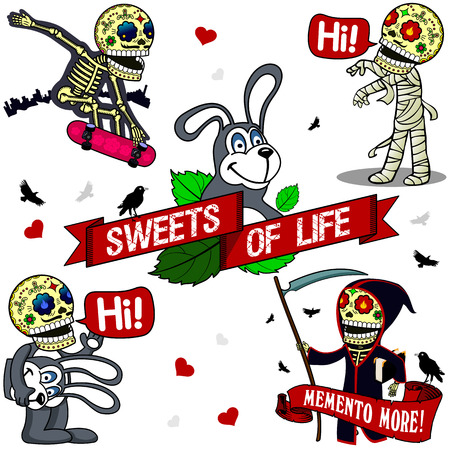 ms: Skater rides his skateboard pink, mummy talking Hi, a skeleton dressed as a giant rabbit, saying Hi, Ms death draped with a scythe and the book of life in the hands of Illustration