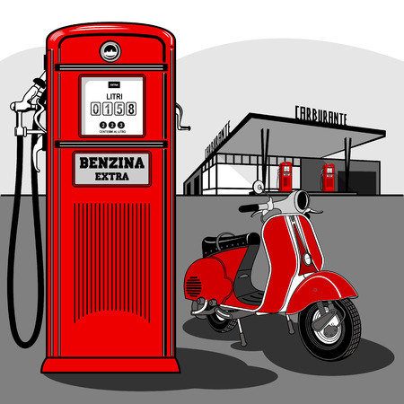 Red scooter at a gas station. Old, stylish gas station, red.