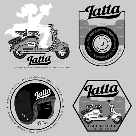 Elegante moto - transporte de personas jóvenes con estilo. Iconos retro con la moto y casco. Vectores