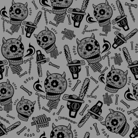 massacre: Seamless texture with contour objects - skull, bones, chainsaw, Lucifer Illustration