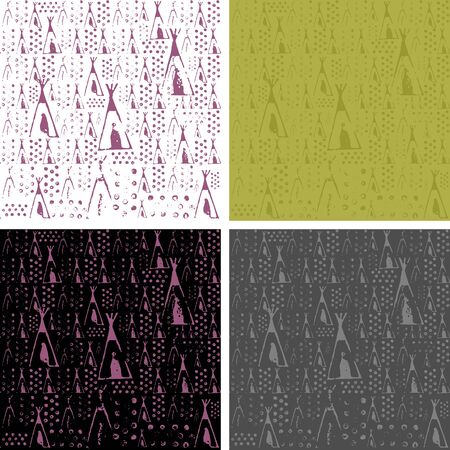 lodges: Seamless texture based on the printed stamps lodges, Native American dwellings surrounded by trees