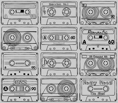 Seamless texture Compact cassettes - Back to 80 Vector