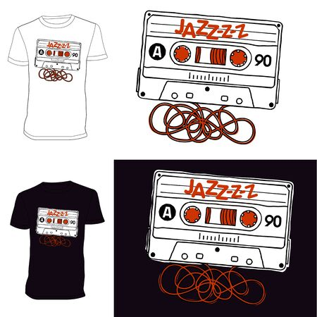 improvisation: Linear vector graphics for T-shirts - audio tapes of jazz music. Illustration