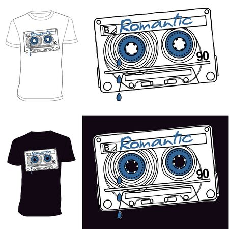 audio cassette: Linear vector graphics for T-shirts - audio cassette recordings of romantic music. Illustration