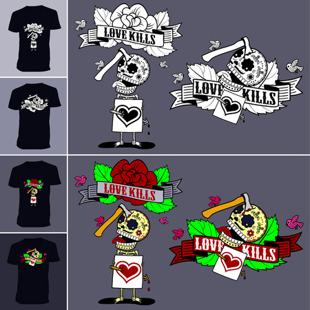struck: Vector illustration on t-shirts - Love breaks the heart and hurt to death. Arrow pierced through love love skeleton, he got struck like an ax in the head. Illustration