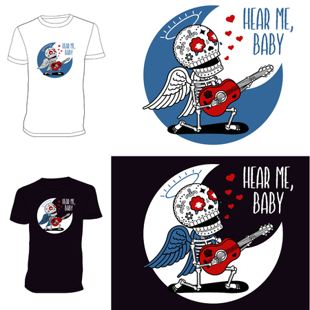 Linear image on the T-shirt - love angel on his knees singing with a guitar serenade Illustration
