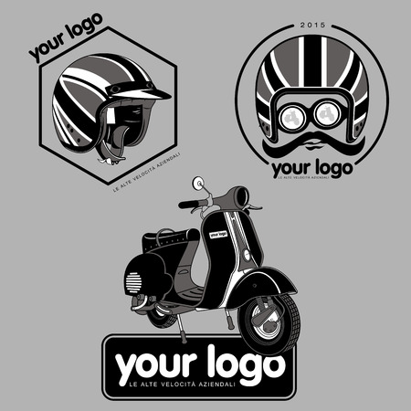 vespa: Elegant scooter - transport of stylish young people. Retro icons with scooter and helmet. Illustration