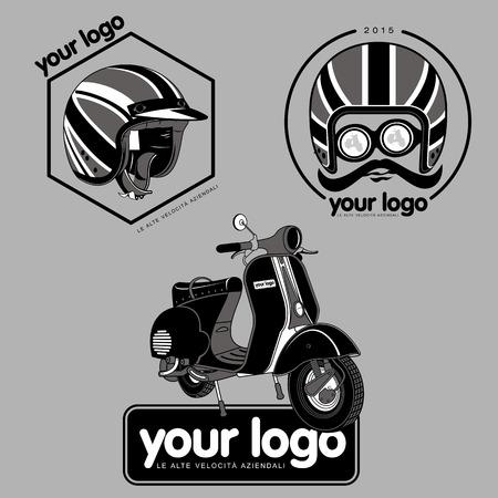 vespa piaggio: Elegante scooter - trasporto di giovani alla moda. Icone Retro con motorino e casco.