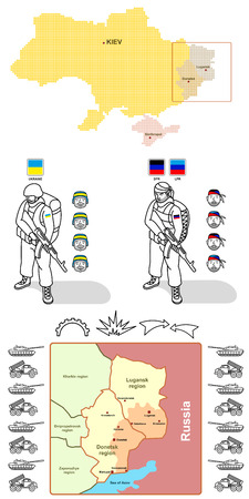historic world event: Stylized map of Ukraine and detailed maps of the breakaway republics of Donetsk and Lugansk. Elements to create an infographic about the events in the east of Ukraine - silhouettes of military equipment (tanks and missile systems), figures of soldiers Ukr Illustration