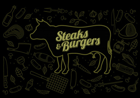 veal sausage: Vector illustration of beef, pork, lamb and chicken, vegetables image, bread, drinks and cooking tools.