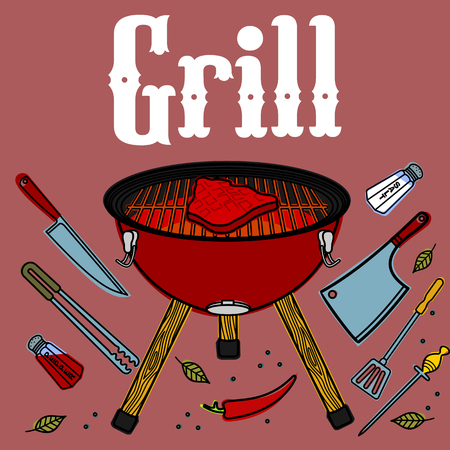 prepared fish: Vector illustration of the grill and barbecue beef, pork and chicken, grilled image ovens, barbecue tools and vegetables.