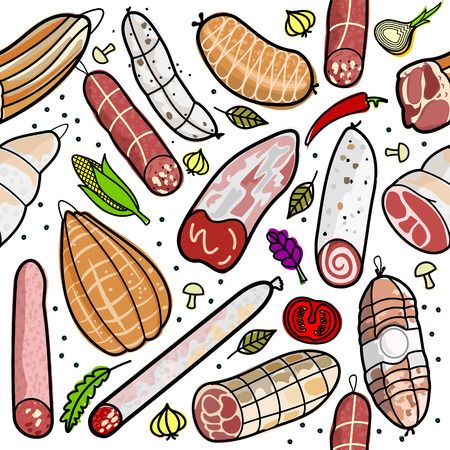 Vector illustration of the famous sausages from different regions of Italy