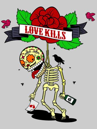 unrequited love: Ilustraci�n del vector en una camiseta - suicidio esqueleto, ebrio de amor no correspondido y la desesperaci�n se meti� en el bucle Vectores