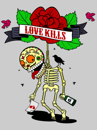 unrequited love: Vector illustration on a T-shirt - skeleton suicide, drunk from unrequited love and of despair climbed into the loop