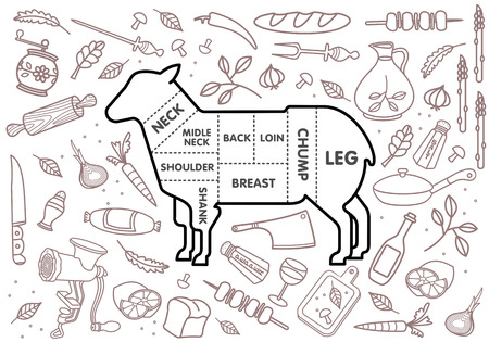 pepper mill: Vector illustration of beef, pork, lamb and chicken, vegetables image, bread, drinks and cooking tools.