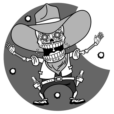 Wild West, a skeleton dressed as a cowboy, pistol shooting, traces of bullets Vector