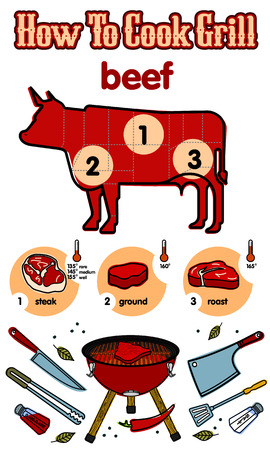 grilled salmon: Vector illustration of the grill and barbecue beef, pork and chicken, grilled image ovens, barbecue tools and vegetables.