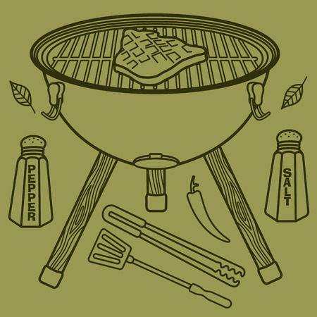 dog salmon: Vector illustration of the grill and barbecue beef, pork and chicken, grilled image ovens, barbecue tools and vegetables.