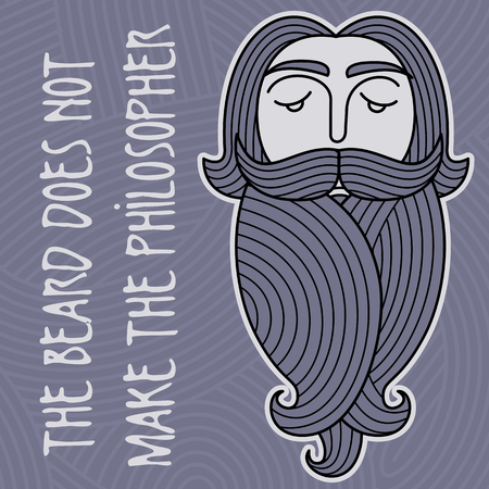 The head of a bearded man on a background of curls and ringlets. Folk wisdom: Beard does not make philosopher Vector