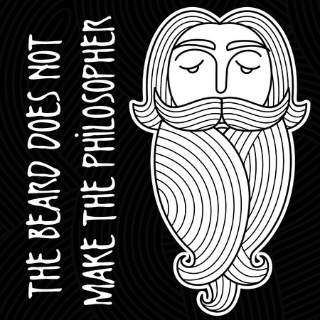 philosopher: The head of a bearded man on a background of curls and ringlets. Folk wisdom: Beard does not make philosopher Illustration
