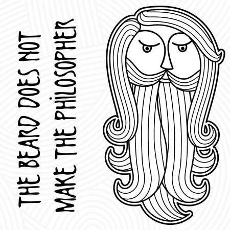 The head of a bearded man on a background of curls and ringlets. Folk wisdom: Beard does not make philosopher Illustration