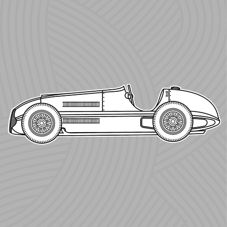 low tire: Contour Vector retro racing car.