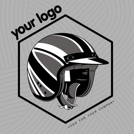 protective eyewear: Elegant scooter - transport of stylish young people. Retro icons with scooter and helmet. Illustration