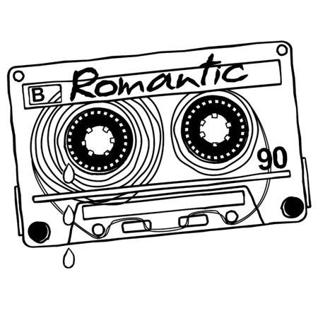 audio cassette: Linear vector graphics for T-shirts - audio cassette recordings of romantic music. Illustration
