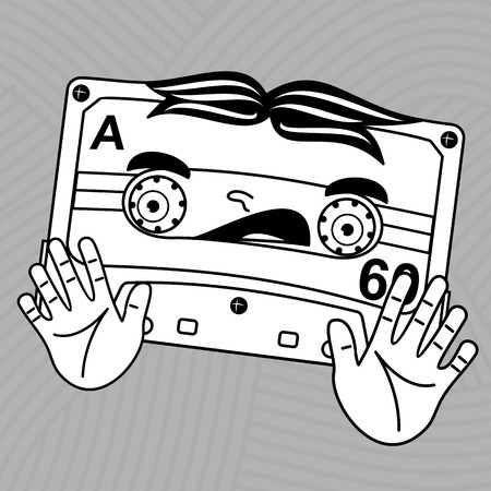 Welcome to the 1980s! Characters pop music in the form of compact cassettes. Illustration