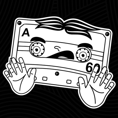 arts culture and entertainment: Welcome to the 1980s! Characters pop music in the form of compact cassettes. Illustration