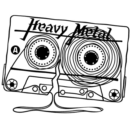 heavy metal: Linear vector graphics for T-shirts - Audio cassettes of music Heavy Metal Rock.