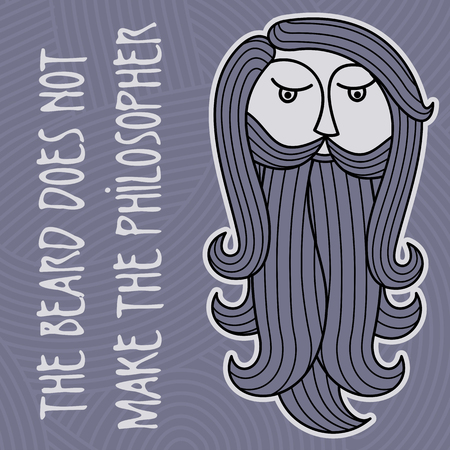style goatee: The head of a bearded man on a background of curls and ringlets. Folk wisdom: Beard does not make philosopher Illustration