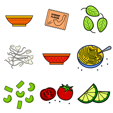 onions: Nine images of different foods - Chinese noodles, ginger, rosemary, soy sauce, nut butter, celery, tomato, mushrooms, green onions, corn, asparagus