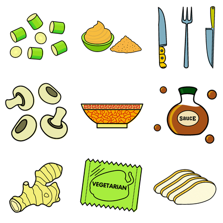 chinese noodles: Nine images of different foods - Chinese noodles, ginger, rosemary, soy sauce, nut butter, celery, tomato, mushrooms, green onions, corn, asparagus