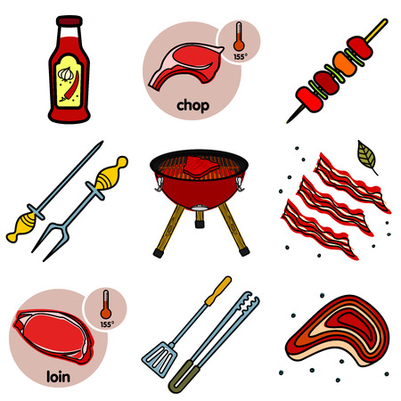 tongs: Nine images of different foods - ketchup, barbecue, oven-grill, spatula, tongs, bacon, chop, loin.