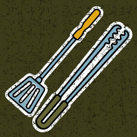 Tongs and shovel barbecue Illustration