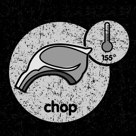 pork chop: A piece of pork chop  barbecue and a thermometer with a temperature of frying