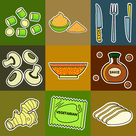 soy sauce: Nine images of different foods - Chinese noodles, ginger, rosemary, soy sauce, nut butter, celery, tomato, mushrooms, green onions, corn, asparagus